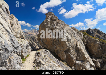 footpath on mountain ridge in San Pellegrino valley, Trentino, Italy - Stock Photo