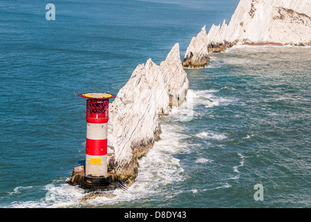 Aerial view of The Needles and Lighthouse Isle of Wight - Stock Photo