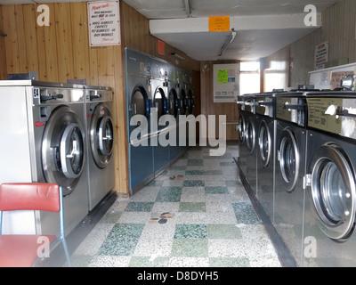 Grappenhall Warrington Traditional Launderette clothes wash shop - Stock Photo
