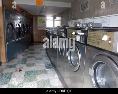 Traditional Launderette clothes wash shop machines, Dry Clean centre, Knutsford rd Grappenhall, Warrington UK - Stock Photo
