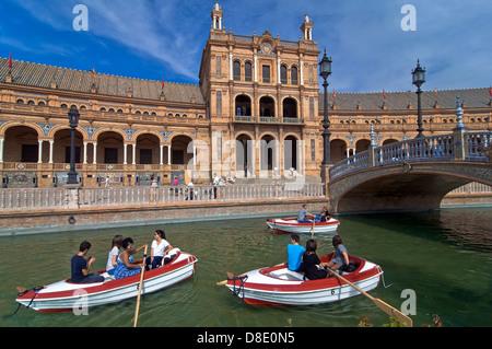 Plaza de Espana and boats, Seville, Region of Andalusia, Spain, Europe - Stock Photo