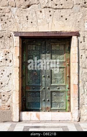 The Umayyad (Omayyad) Mosque in Damascus, Syria. Back door detail - Stock Photo