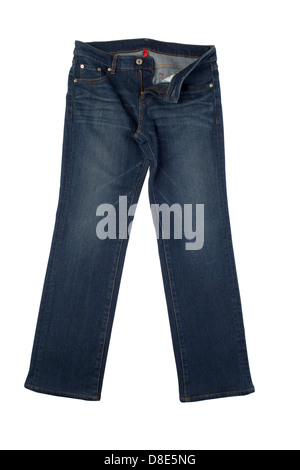dark blue jeans isolated on white background - Stock Photo