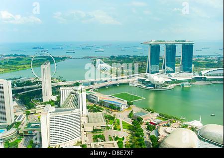 Bird's eye view of Singapore in the sunshine day - Stock Photo