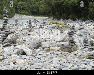 Stone towers by the Blue Pools, New Zealand - Stock Photo