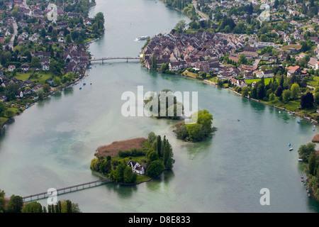 Island Werd and Stein am Rhein, Switzerland, Europe - Stock Photo
