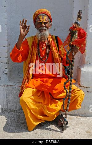 Sadhu in front of Pashupatinath Temple, Kathmandu, Nepal, Asia - Stock Photo