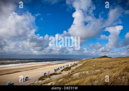 Beach of Sylt Island North of Kampen, Schleswig-Holstein, Germany - Stock Photo