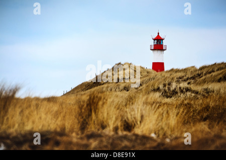 Lighthouse List East on Ellenbogen, Sylt, Schleswig-Holstein, Germany - Stock Photo