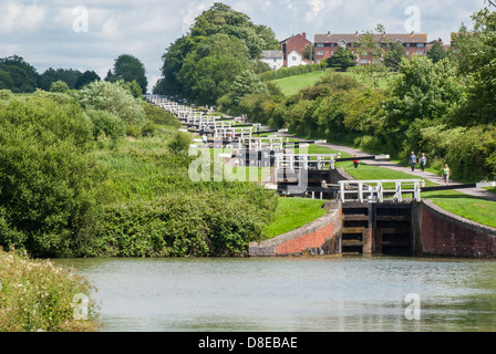 WILTSHIRE, UNITED KINGDOM The Caen Hill Lock Flight, Classified As An Ancient Monument, Where 29 Locks - Stock Photo