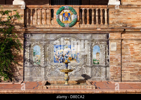 Painted Azulejos ceramic tiles on the Plaza de Espana in Seville, Spain, Andalusia region. - Stock Photo