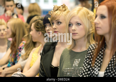 Poznan, Poland, Models advertise for the manufacturer of hair care products Allisia Cerasilk - Stock Photo