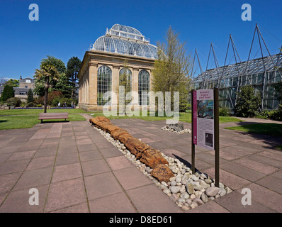 Fossil Courtyard and Palm House in Royal Botanic Garden Edinburgh Scotland - Stock Photo