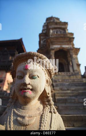 Statue of Siddhi Lakshmi Temple, Durbar Square, Bhaktapur (UNESCO World Heritage Site), Kathmandu Valley, Nepal - Stock Photo