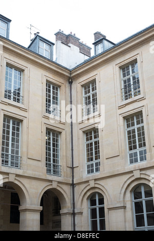 The inner square of the university of law of the sorbonne in Paris France - Stock Photo