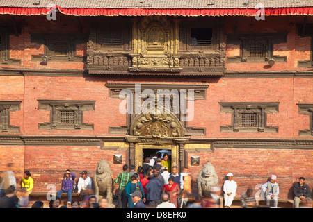 Entrance to Patan Museum, Durbar Square, Patan (UNESCO World Heritage Site), Kathmandu, Nepal - Stock Photo