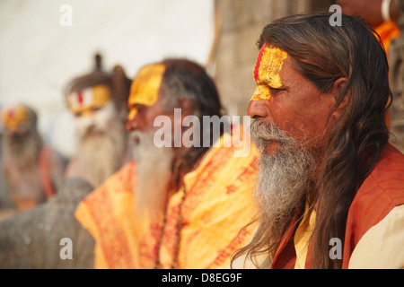 Sadhus (Holy men) at Pashupatinath Temple, Kathmandu, Nepal - Stock Photo