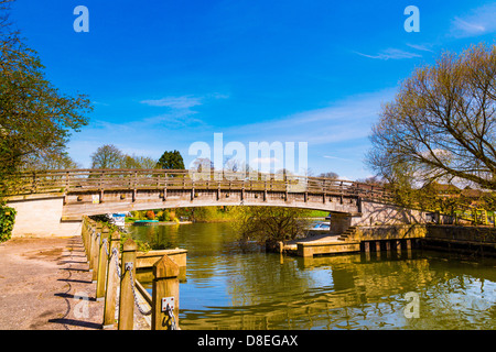 Wooden Bridge at Staines upon Thames, UK - Stock Photo