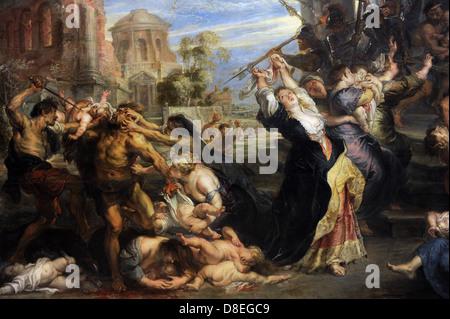 Peter Paul Rubens (1577-1640). German-born Flemish Baroque painter. Massacre of the Innocents, 1635-40. Detail. - Stock Photo