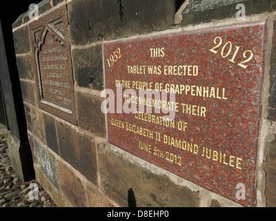 Two Jubilee plaques in Church Lane, Grappenhall Village, Warrington, Cheshire, England, UK WA4 2SJ - Stock Photo