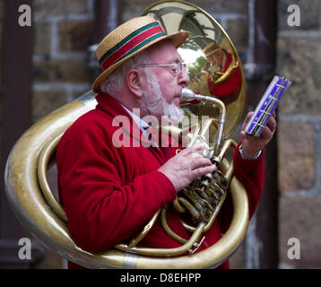 Turton tower, Lancashire, UK 27th May 2013.  Jeffrey Gilpin a player in Bourbon Brass Band at the annual traditional - Stock Photo