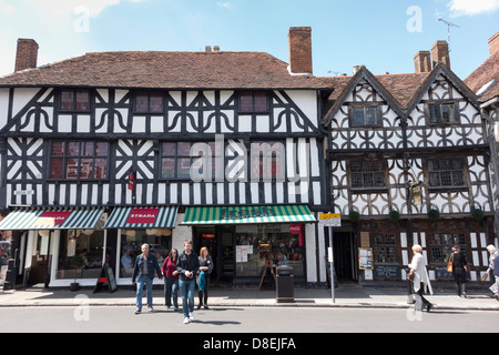 Timber framed shops in Stratford upon Avon - Stock Photo