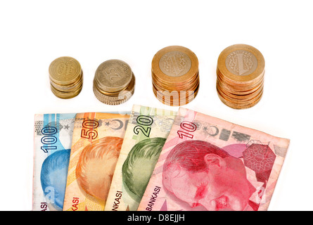 Turkish money and coins on white background - Stock Photo