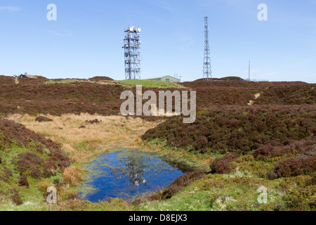 Radio masts on the top of Brown Clee Hill Shropshire - Stock Photo
