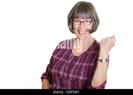 happy woman makes a victory gesture - Stock Photo