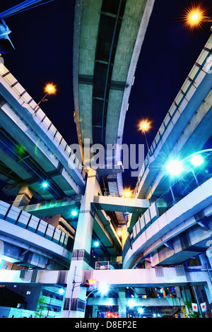 Junction of several highways in Tokyo, Japan. - Stock Photo