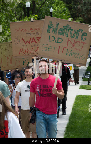 'March Against Monsanto' protests genetically modified foods - Stock Photo