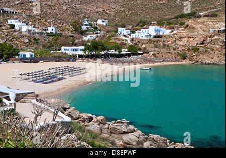 Super Paradise beach at Mykonos island in Greece - Stock Photo