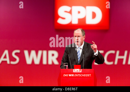 Augsburg, Germany, Chancellor candidate Peer Steinbrueck, SPD - Stock Photo