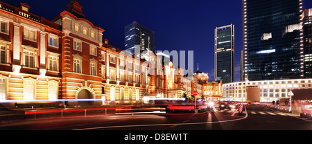 Exterior of Tokyo Station at night. - Stock Photo
