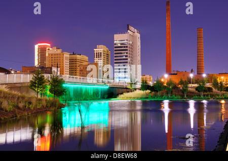 Skyline of Birmingham, Alabama at railroad park. - Stock Photo