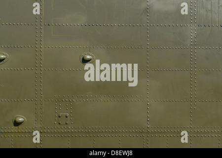 Military green metal and rivets detail - Stock Photo