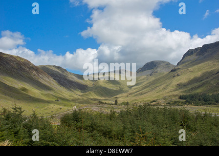 The head of the Ennerdale Valley, looking towards the Black Sail hut, Lake District National Park, Cumbria, England - Stock Photo