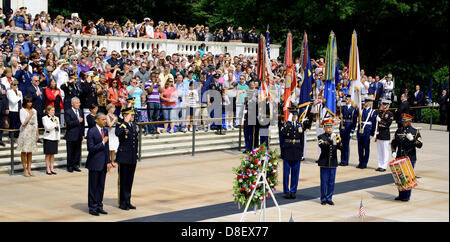 US President Barack Obama stands at attention during the playing of Taps at the Memorial Day ceremony at the Tomb - Stock Photo