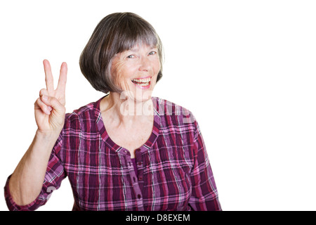 lucky and happy woman doing a victory gesture - Stock Photo