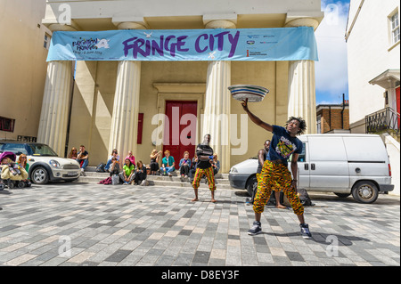 Street Performers at the Brighton Festival Fringe on 16/05/2013 in Brighton. Picture by Julie Edwards - Stock Photo