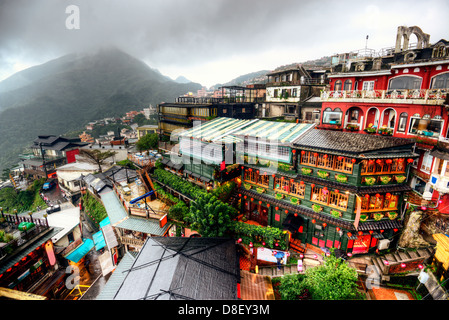 Hillside teahouses in Jiufen, New Taipei, Taiwan - Stock Photo