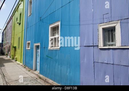 Colorful Houses in Valparaiso Cerro Alegre - Stock Photo