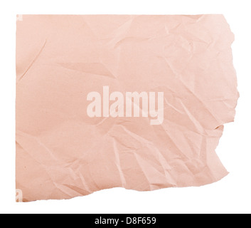 Piece of brown paper torn on two edges with creases and wrinkles - Stock Photo