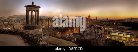 Carlton Hill Panorama at Dusk sunset in Edinburgh Scotland UK @hotpixuk - Stock Photo