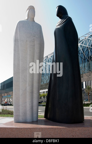 Granite Sculpture of Arab Man & Woman 'Together' by Lutfi Romhein - Stock Photo