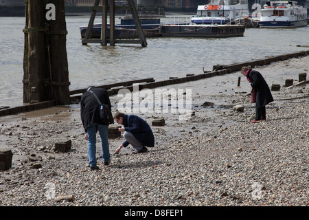 People mudlarking on foreshore at low tide, River Thames, London - Stock Photo