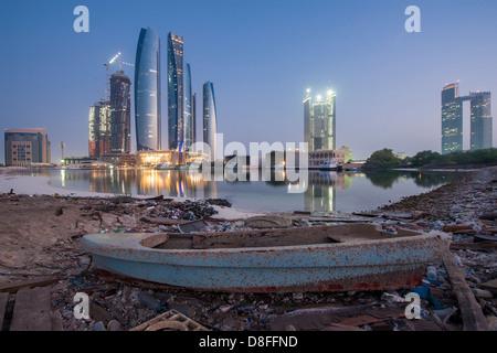 Etihad Towers in Abu Dhabi at sunrise, UAE - Stock Photo