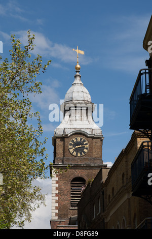 Weather vane on top of tower of  St. John's church, Scandrett Street, Wapping. - Stock Photo