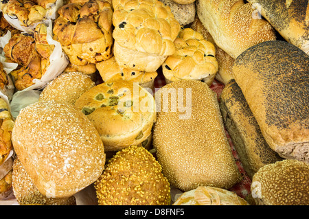 Bread on a market stall, England, UK - Stock Photo