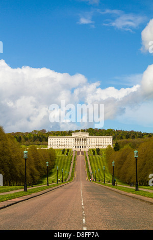 Stormont, Goverment seat in Northern Ireland. Politics, history, beautiful Belfast building. Portrait, blue sky, - Stock Photo